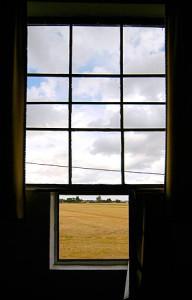Uitzicht uit het raam van het atelier van  Jan Zoetelief Tromp in Breteuil-sur-Iton.